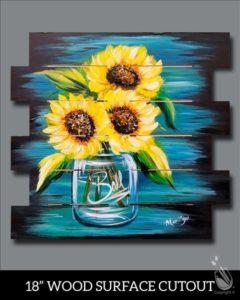 Happy Sunflowers Wooden Pallet