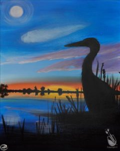 Heron Sunset Save $5 Coffee and Canvas
