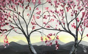 Sunrise Love Trees Set or Single Canvas