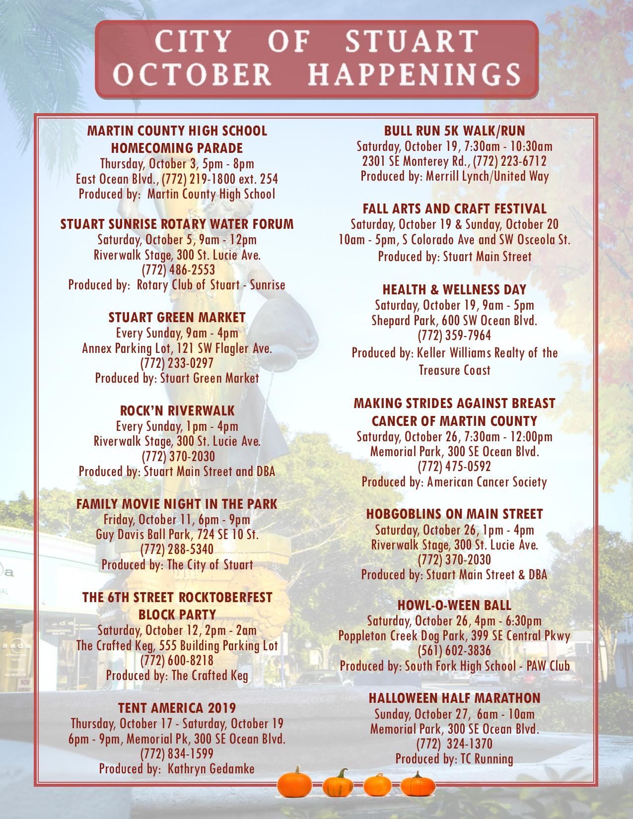 Lynch Park Halloween 2020 City of Stuart October Happenings | Martin County