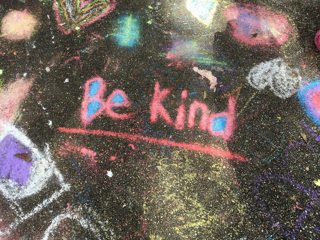 Be Kind inspirational message written in chalk