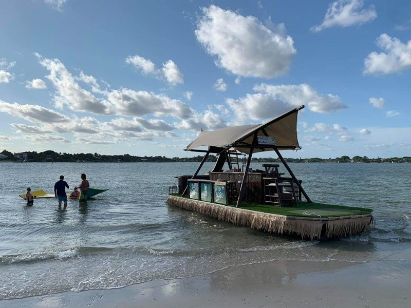 "Floating Tiki Bar ""Sail La Vie"" on the open waters of Stuart, Florida"